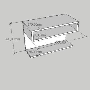 Mesa de cabeceira suspensa com prateleiras em mdf cinza