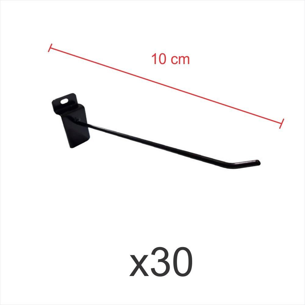 kit para expositor com 30 ganchos 4mm preto de 10 cm para painel canaletado
