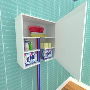 Armário multi uso para lavanderia, em mdf Cinza