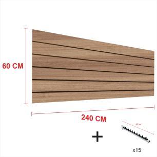 Expositor canaletado amadeirado alt 60 cm comp 240 cm mais 15 ganchos rt 40 cm para roupas