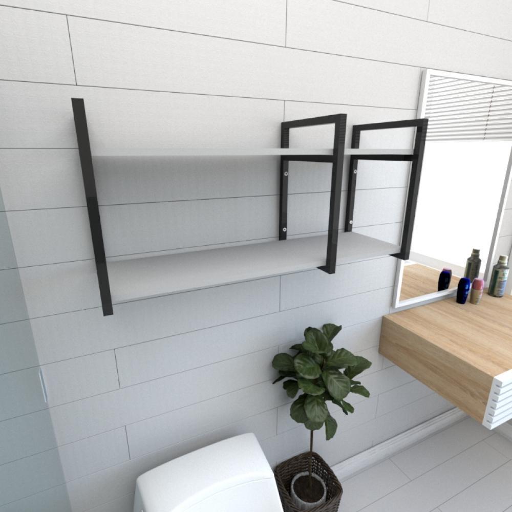 Prateleira industrial para banheiro aço cor preto prateleiras 30cm cor cinza modelo ind19cb