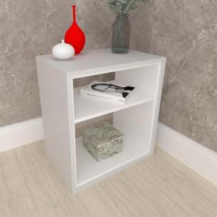 Mesa lateral, mesa de canto, em mdf cinza com branco