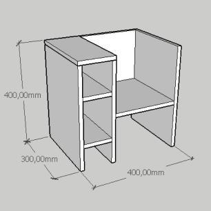 Mesa de cabeceira minimalista em mdf cinza
