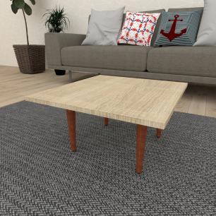 Mesa de Centro quadrada em mdf amadeirado claro com 4 pés retos em madeira maciça cor mogno