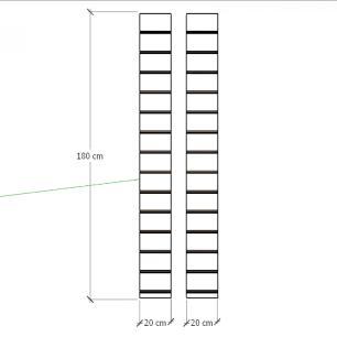 Kit 2 Painel canaletado para pilar vermelho escuro 2 peças 20(L)x180(A)cm