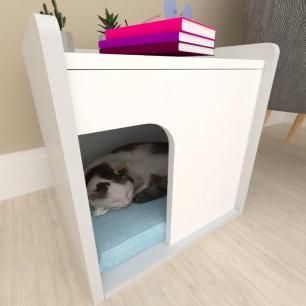 Casinha criado mudo para gato mdf cinza com branco