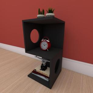 Estante escritório formato S simples em mdf Preto