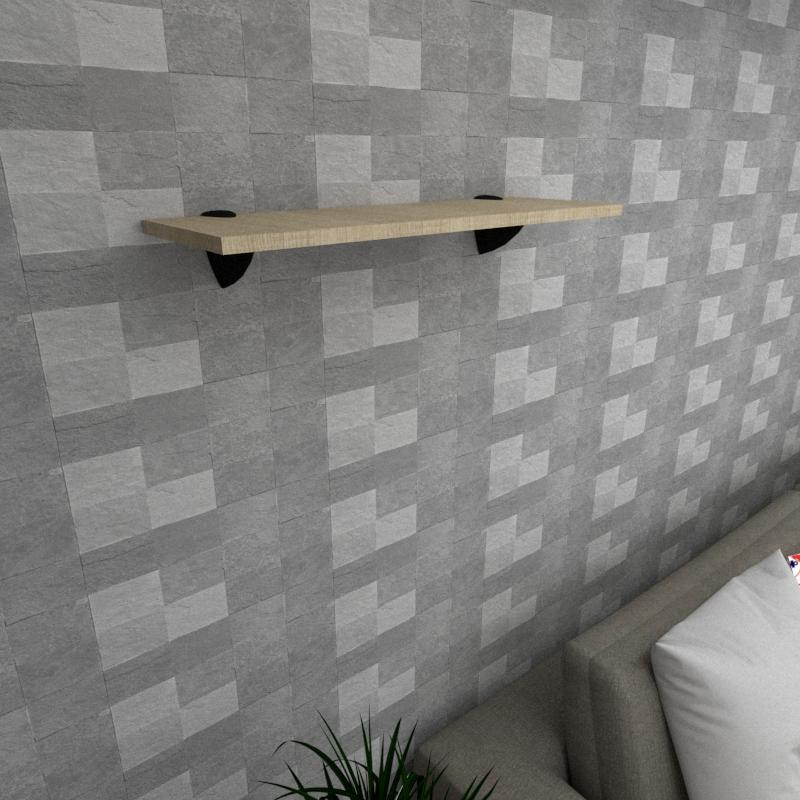 Prateleira para sala MDF suporte tucano cor amadeirado claro 60(C)x20(P)cm modelo pratslamc10