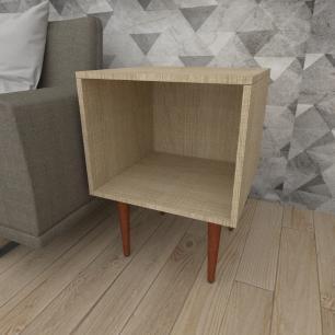 Mesa lateral moderna em mdf amadeirado claro com 4 pés retos em madeira maciça cor mogno