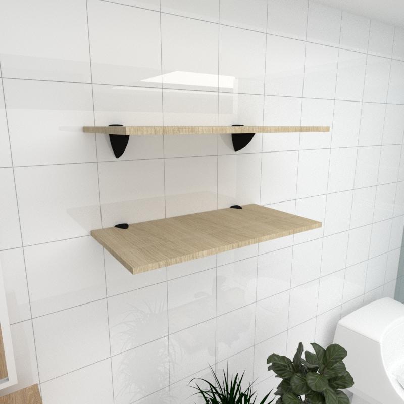 Kit 2 prateleiras para banheiro em MDF suporte tucano amadeirado claro 60x30cm modelo pratbnamc05