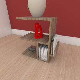 Mesa de cabeceira compacta em mdf amadeirado
