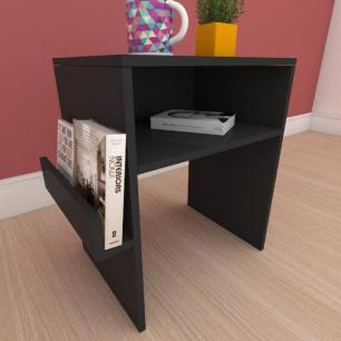 Mesa Lateral com prateleira para livro em mdf preto