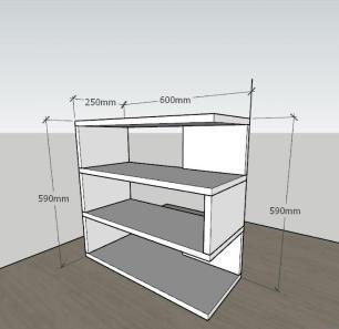 Estante para livros moderna com 3 niveis em mdf Preto