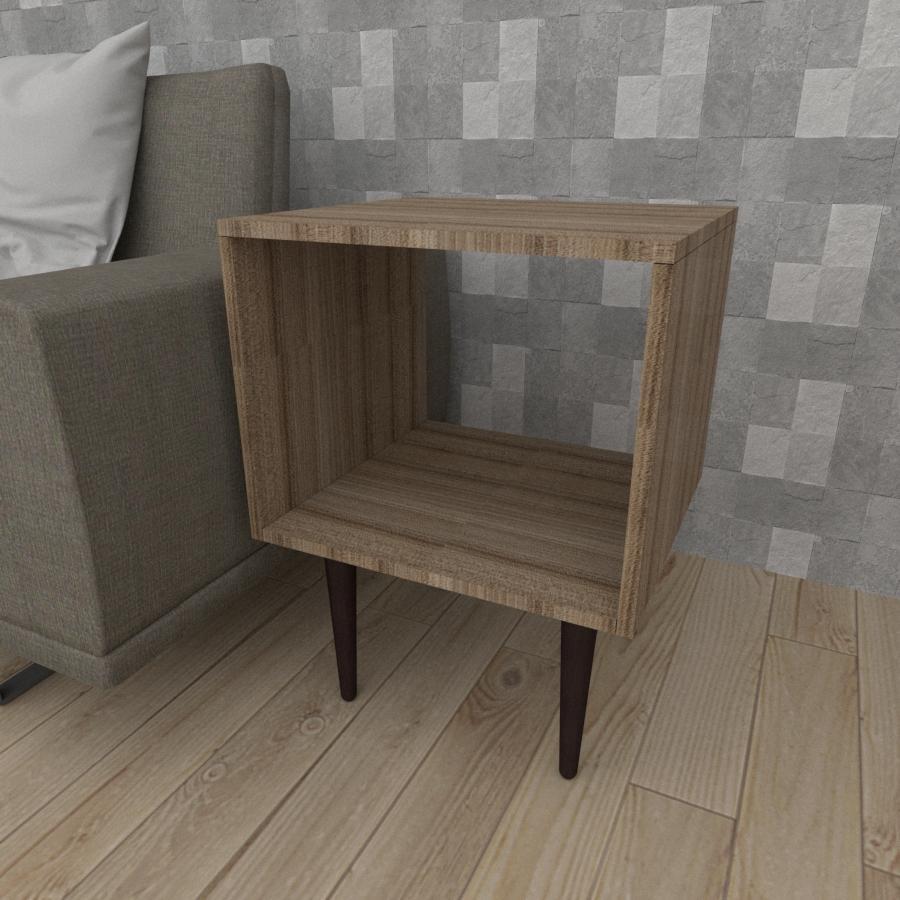 Mesa lateral nicho em mdf amadeirado escuro com 4 pés retos em madeira maciça cor tabaco