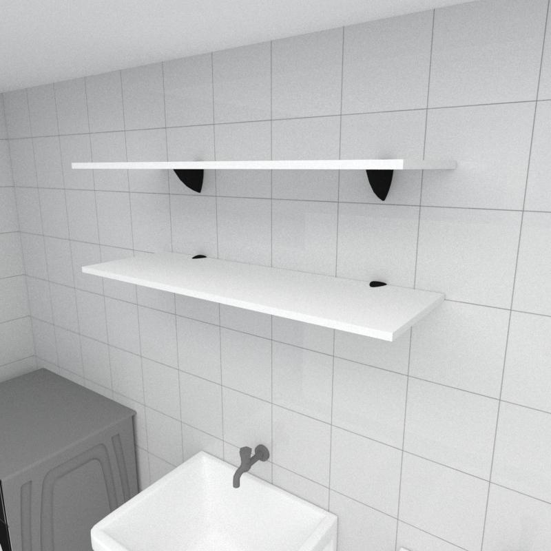 Kit 2 prateleiras para lavanderia em MDF suporte tucano branco 90x30cm modelo pratlvb02