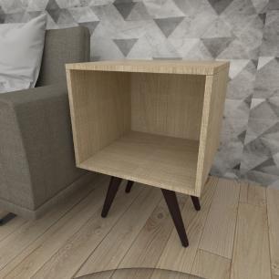 Mesa lateral moderna em mdf amadeirado claro com 4 pés inclinados em madeira maciça cor tabaco