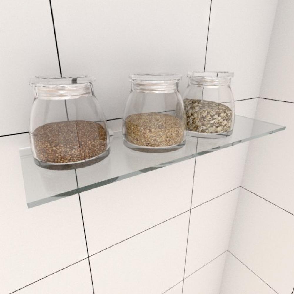 Kit com uma Prateleira para cozinha 30 cm vidro temperado