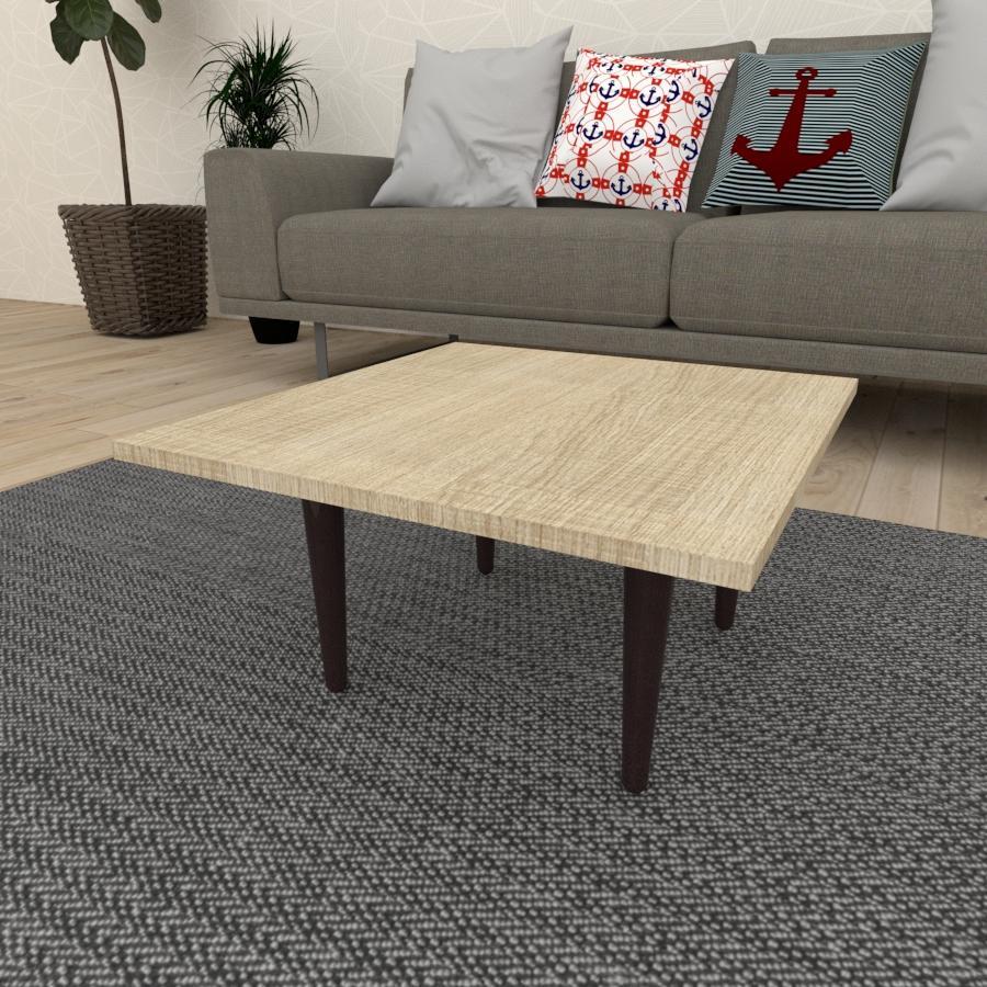 Mesa de Centro quadrada em mdf amadeirado claro com 4 pés retos em madeira maciça cor tabaco