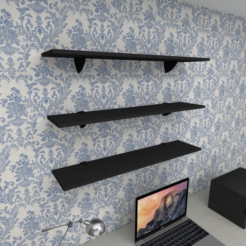 Kit 3 prateleiras para escritório em MDF suporte tucano preto 90x20cm modelo pratesp09