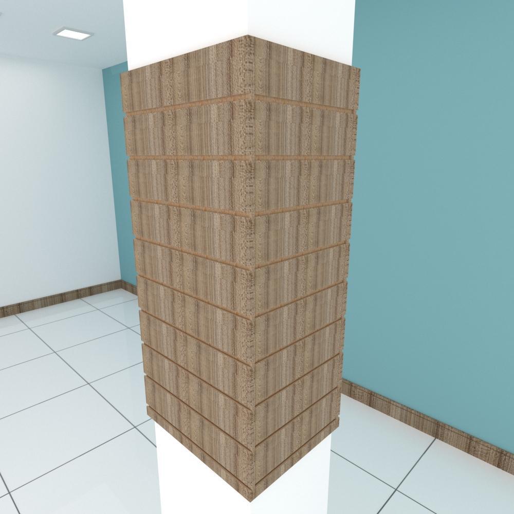 Kit 4 Painel canaletado pilar amadeirado escuro 2 peças 54(L)x120(A) cm + 2 peças 40(L)x120(A) cm