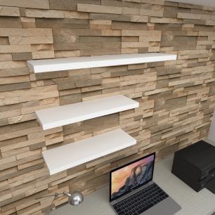 Kit 3 prateleiras escritório em MDF sup. Inivisivel branco 2 60x20cm 1 90x20cm modelo pratesb36