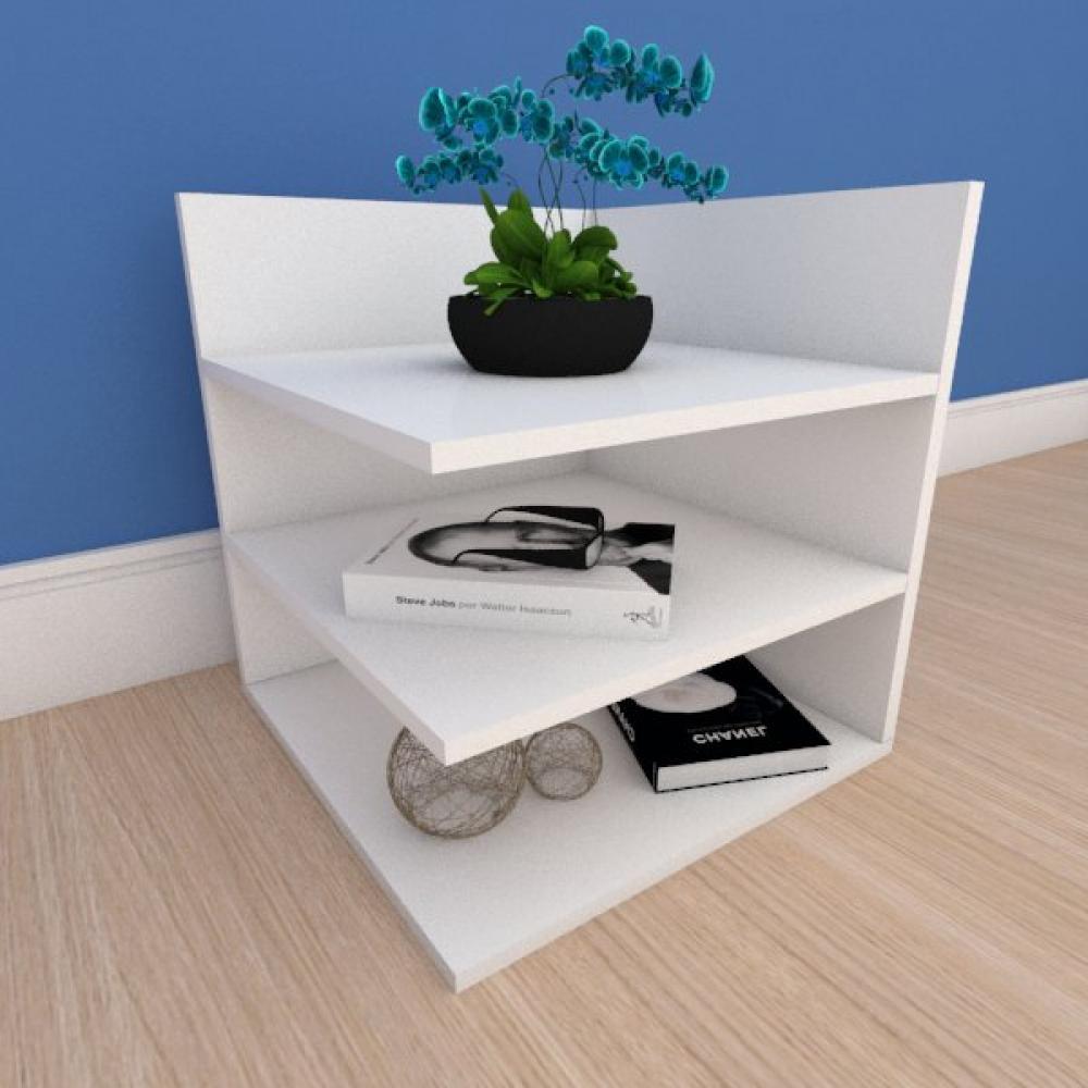 Kit com 2 Mesa de cabeceira minimalista com prateleiras em mdf branco