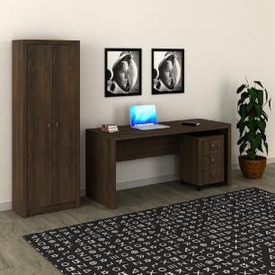 Conjunto Home Office CB06 Rústico - Casa da Mobília