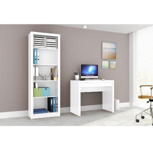 Conjunto Home Office CB03 Branco - Casa da Mobília