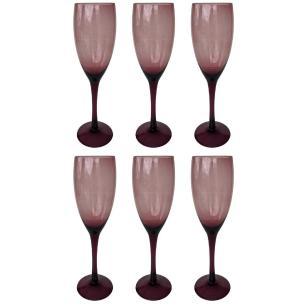 Jogo de 6 Taças Muret p/Champagne Vidro Violet 240ml - Euro