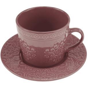 Jogo de 4 Xícaras p/Chá em Porcelana 250ml Lilás - Wolff