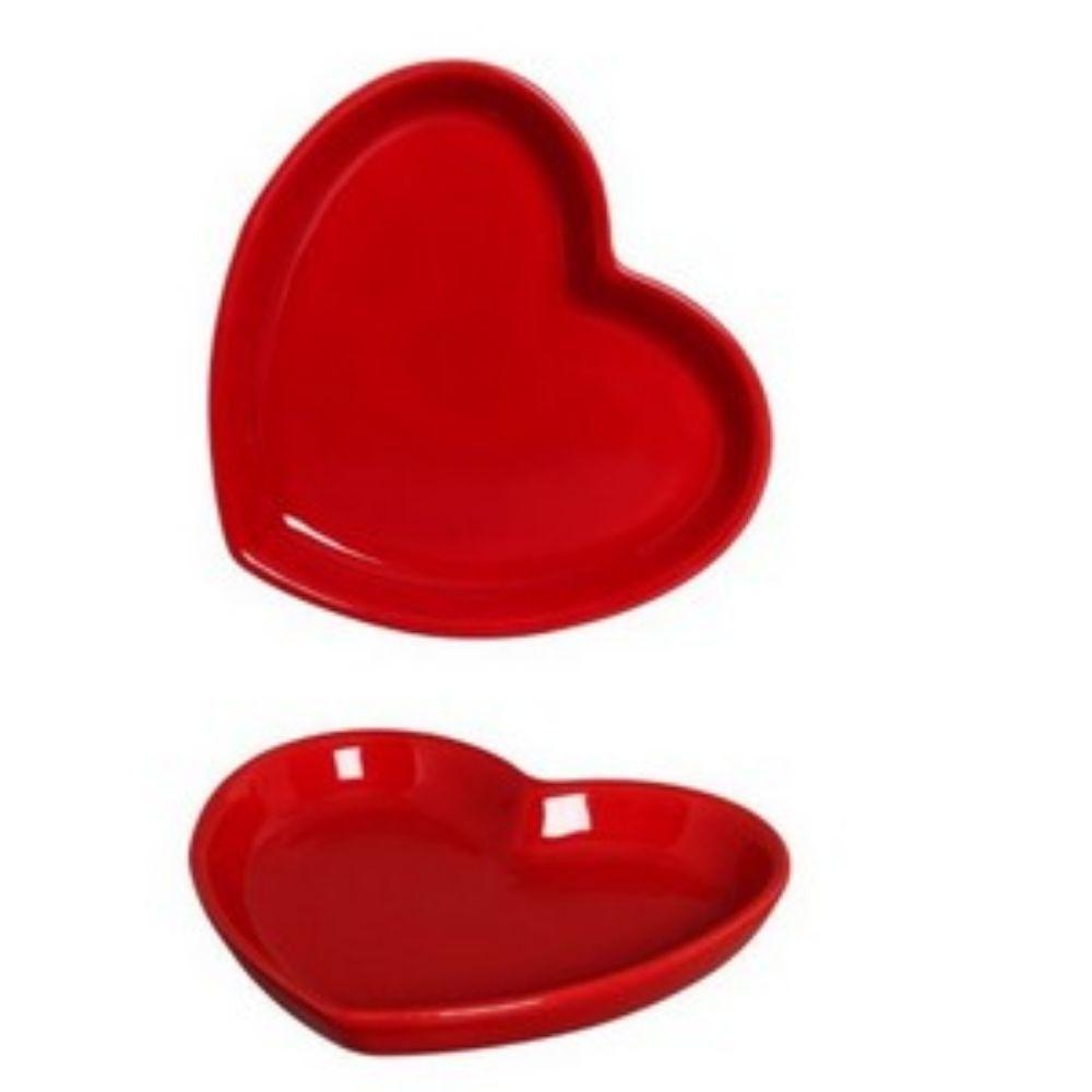 Prato Coração em Cerâmica 25x28 cm Vermelho – Silveira