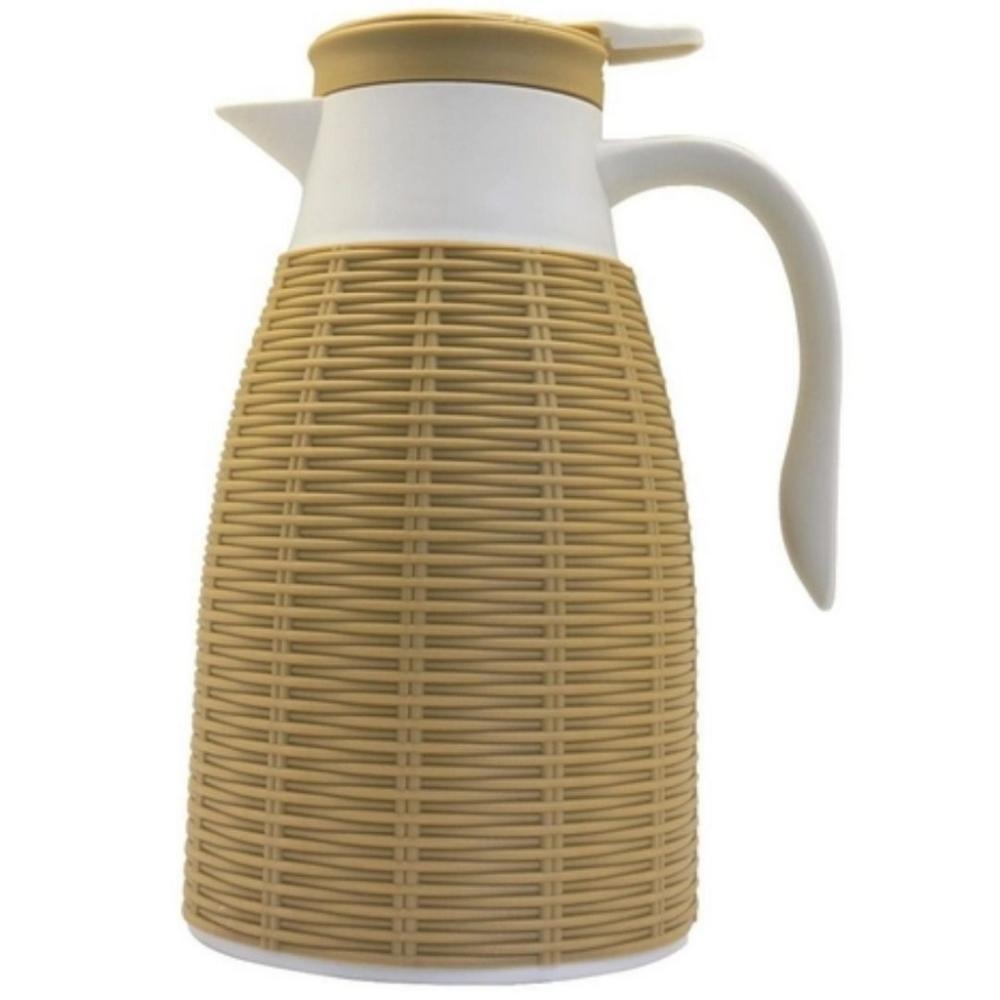 Garrafa Térmica em Rattan Plástico 1L Bege – Full Fit