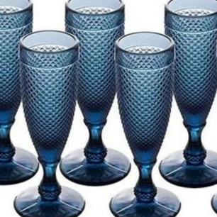 Jogo Com 06 Taças Champanhe Bico de Jaca Azul Marinho 160ml