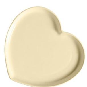 Prato Coração em Cerâmica 25x28 cm Creme – Silveira