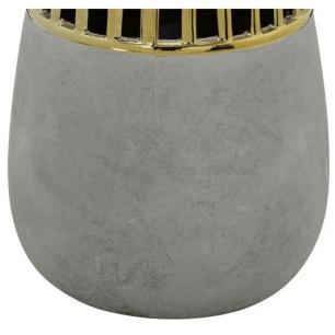 Vaso Decorativo em Cerâmica Gold Lorenzo 22cm Cinza - Mabruk
