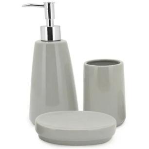 Jogo de Banheiro Pale Grey 3 Peças Cerâmica - Mimo Style