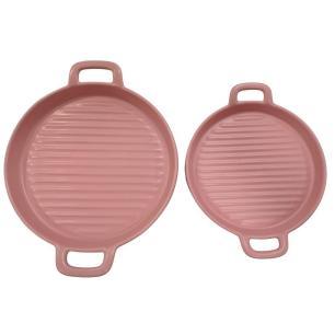 Conjunto de Travessas Nórdica em Cerâmica com 2 Peças Rosa