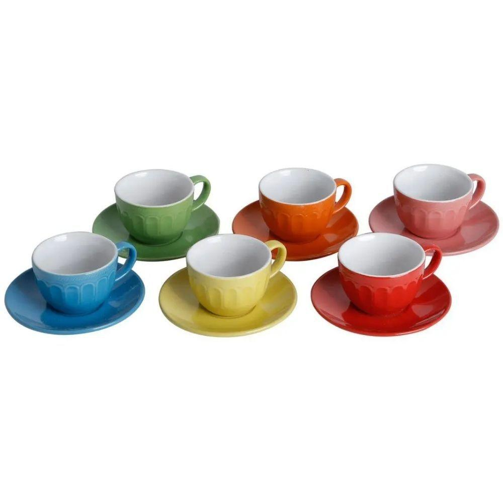 Jogo de 6 Xícaras com Pires Mary Colors 220ml - Bon Gourmet