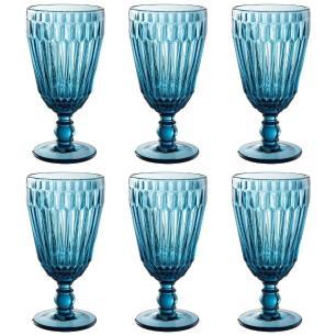 Jogo de 6 Taças de Vidro Bretagne Azul 330ml  -  L'hermitage