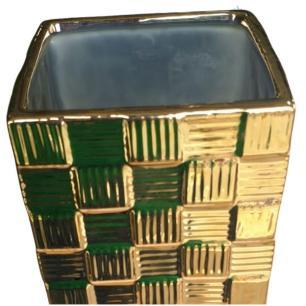 Vaso Decorativo Quadrado em Cerâmica 40cm Dourado – Mabruk