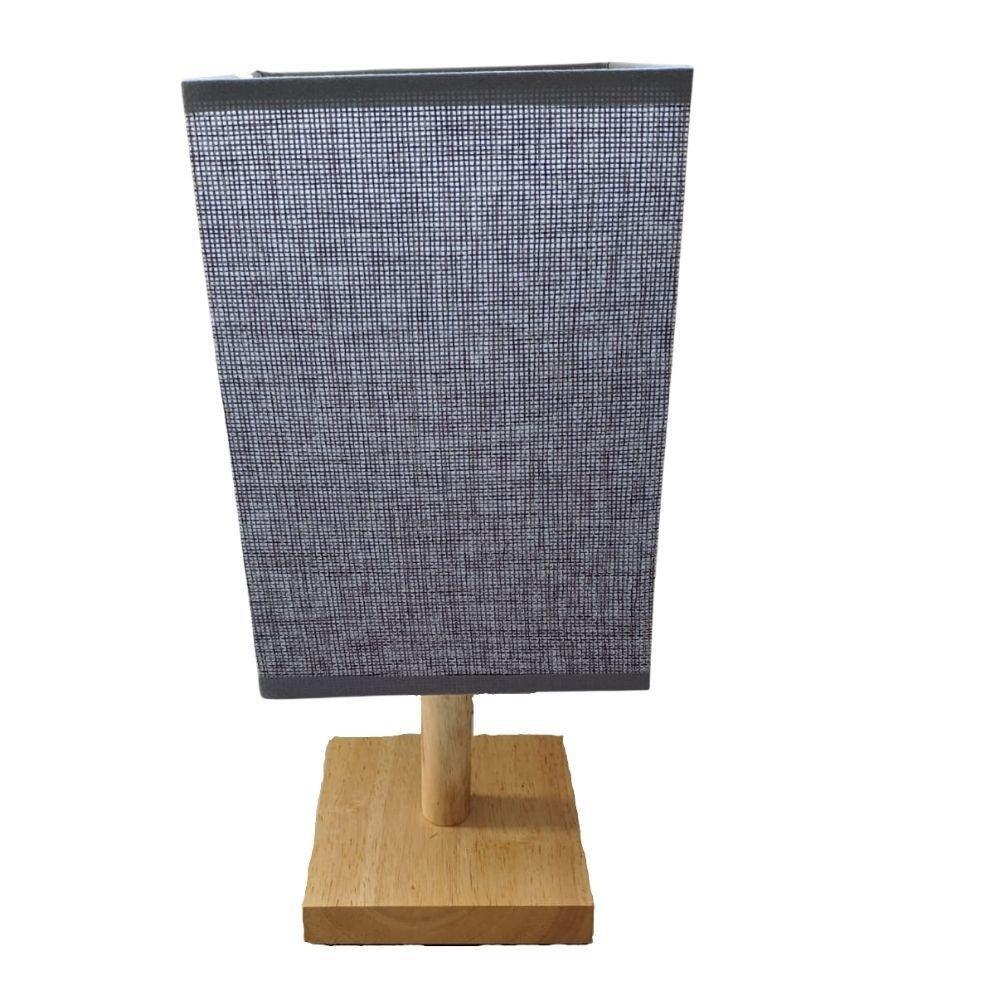 Abajur em Madeira c/Tecido 33cm Cinza Bivolt - FWB