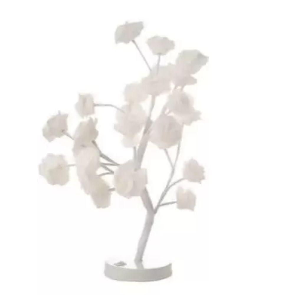 Árvore Abaju Decorativa 24 Leds Pétalas Brancas