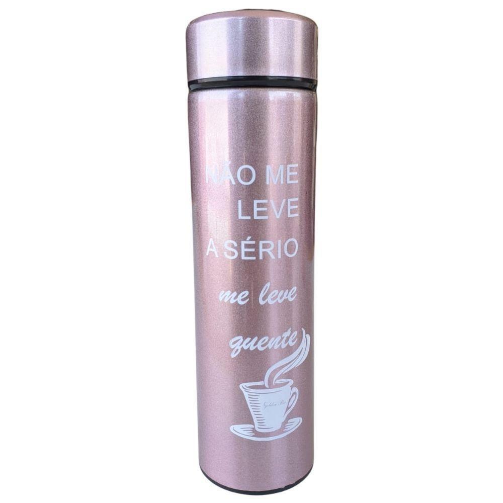 Garrafa Térmica Inox c/Termômetro 470 ml Rose – Golden Rio