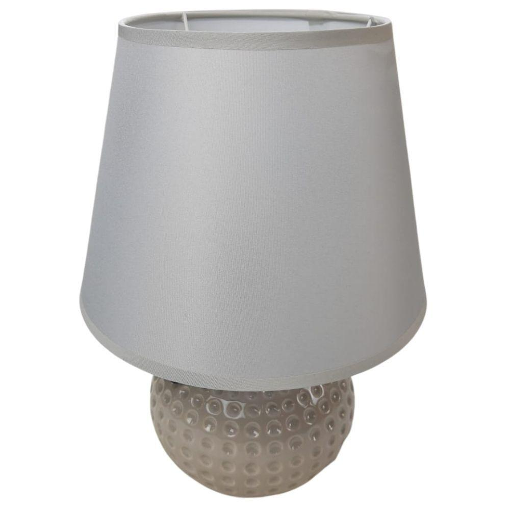 Abajur Luminária de Mesa Bola Cinza com Cúpula – Bela Flor