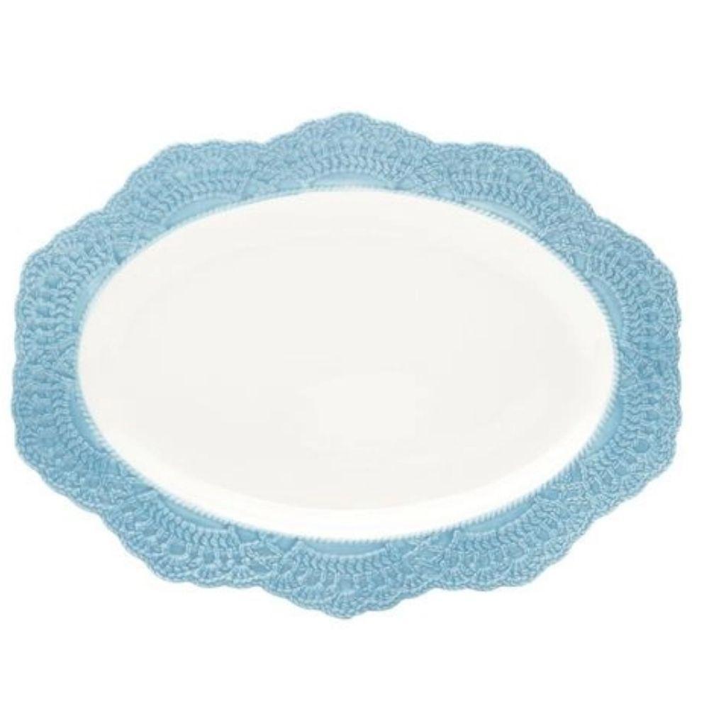Prato Para Servir Wolff Givemy Oval Porcelana Azul- Rojemac