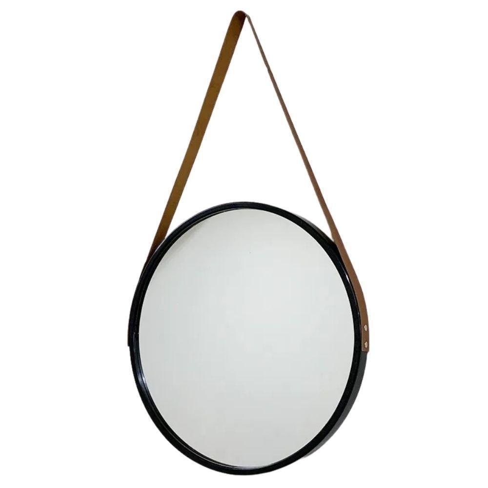 Espelho Redondo Decorativo Preto com Alça Marrom 45cm – FWB