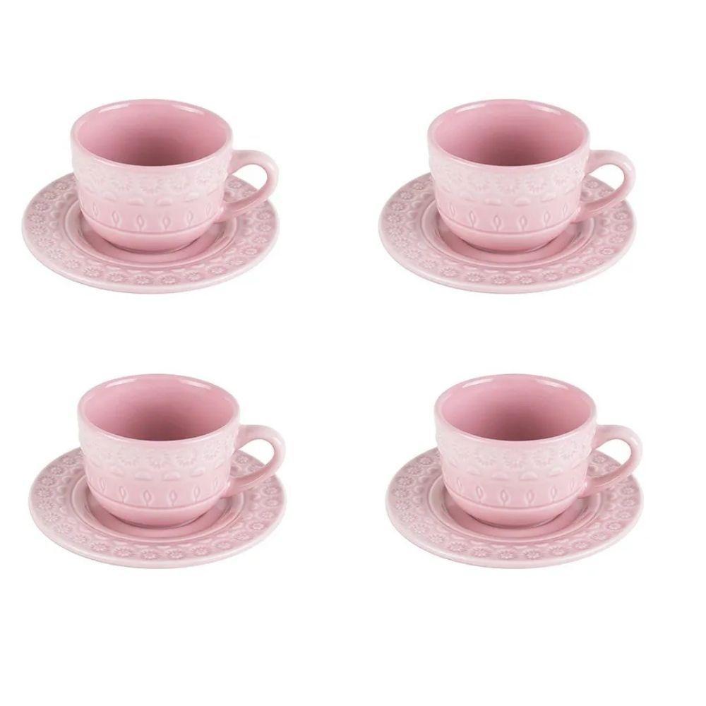 Jogo de 4 Xícaras p/Café em Porcelana 80ml Tiles Blush Wolff