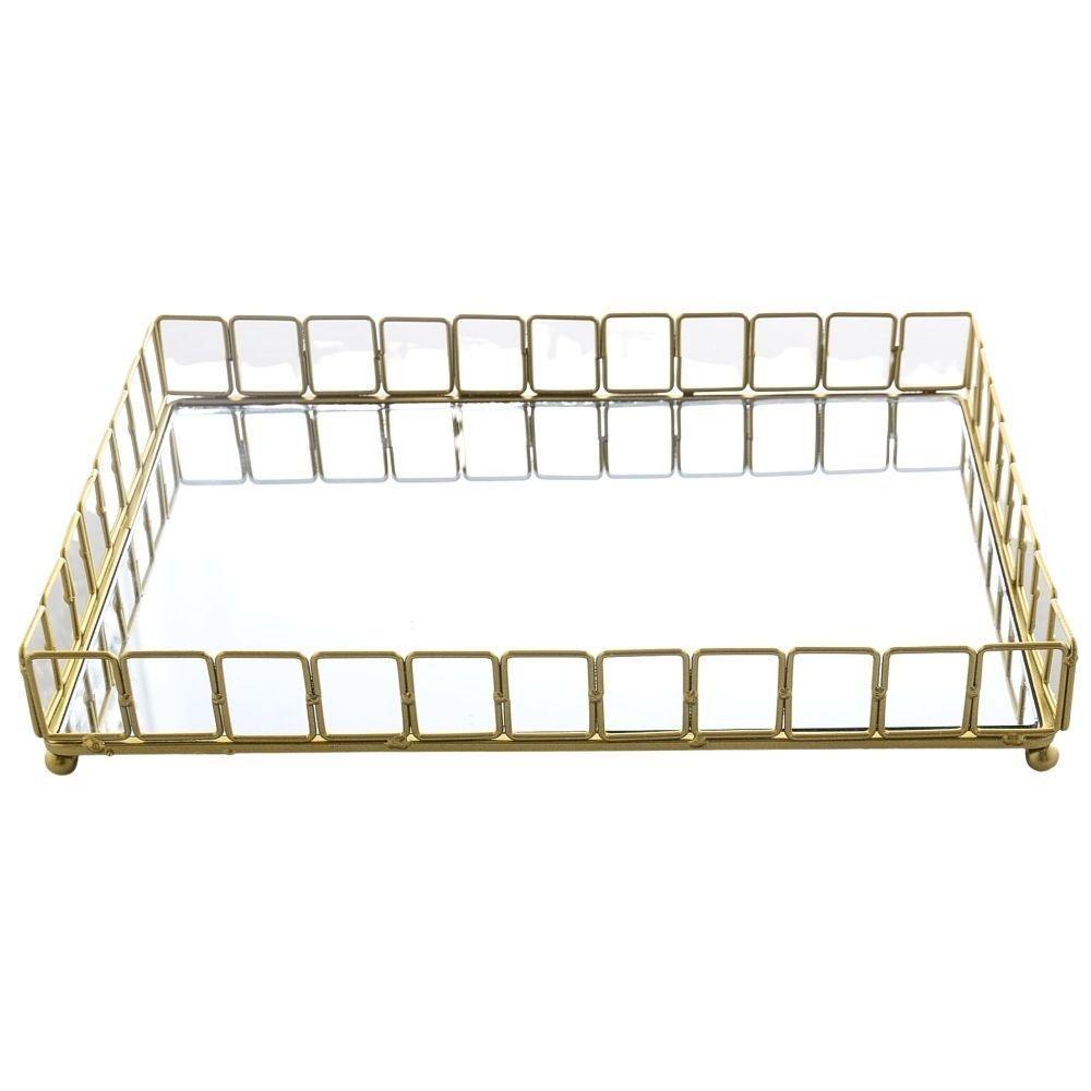 Bandeja Decorativa Espelhada Retangular Metal 33cm Dourado