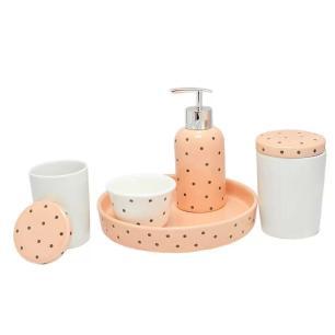 Kit higiene em porcelana 5 peças infantil  Poá - Amigold.