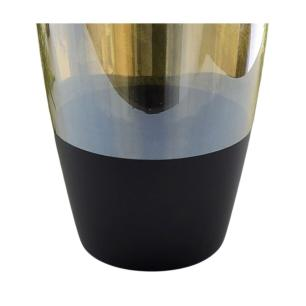 Vaso Alto Decorativo em Vidro Preto/Dourado 28cm Bela Flor